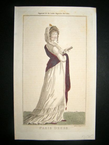 Lady's Magazine 1802 H/Col Regency Fashion Print. Paris Dress 20 | Albion Prints